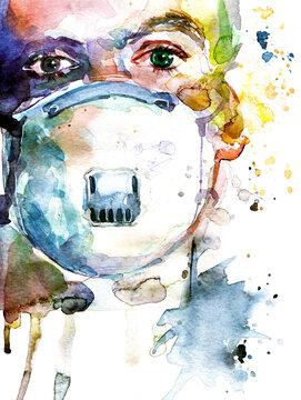 Dottore con la maschera antivirus