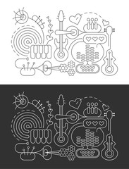 Photo sur Aluminium Art abstrait Line art isolated on a dark grey and on a white background Abstract Music Line Art vector illustrations. Design of line art silhouettes of different musical instruments.
