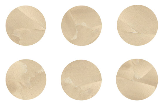 A set of colorful hand painted watercolor circles isolated on a white background in pastel tones of gold color