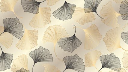 Luxury gold Ginkgo background design vector.