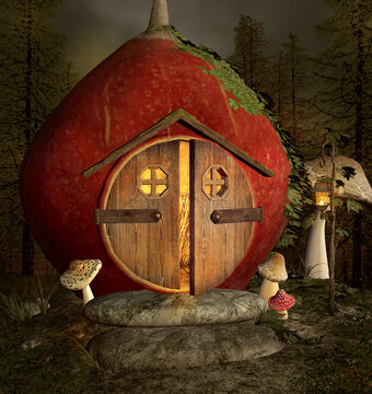 Fantasy nut house with open door in the middle of the forest