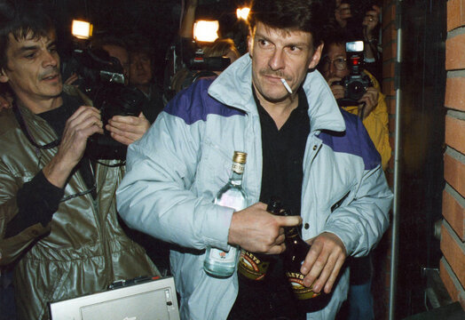 Christer Pettersson, outside his home in Sollentuna, was convicted for the murder of Sweden's Prime minister Olof Palme in the District court, but was released after the Regional court trial in October 13, 1989