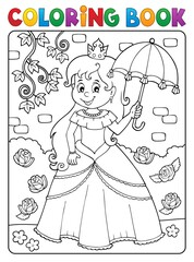 Foto op Canvas Voor kinderen Coloring book princess with umbrella theme 2