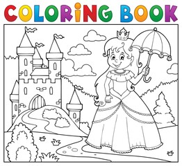 Foto op Canvas Voor kinderen Coloring book princess with umbrella theme 3