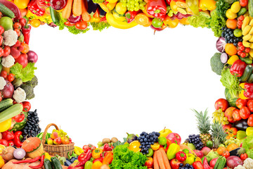 Wall Mural - Frame of fruits and vegetables isolated on white