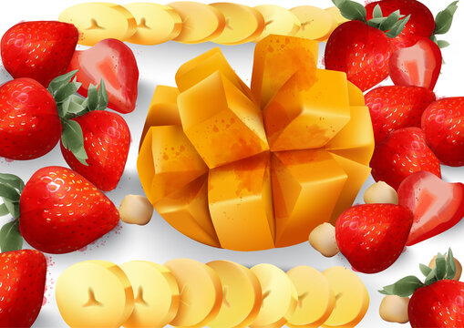 Mango and stawberry Vector. Tropic exotic fruits platter. fresh juicy compositions