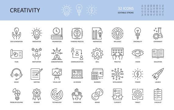 Set of vector creativity icons. Editable Stroke. Idea generation preparation inspiration influence originality, concentration challenge launch. UX design, technology teamwork motivation reward.