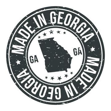 Georgia State USA Quality Original Stamp Design. Vector Art Tourism Souvenir Round.