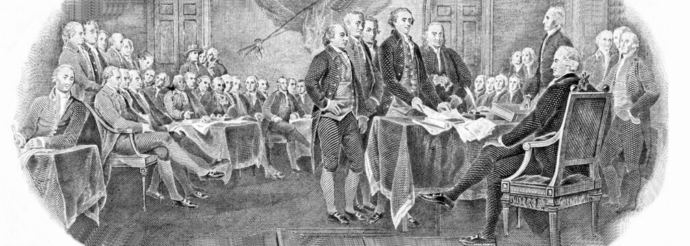 """Engraved modified reproduction of the painting """"Signing of the Declaration of Independence"""" in 1776 (painting by John Trumbull). Portrait from United States of America 2 Dollars 1976 Banknotes."""