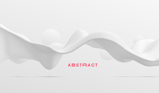 3D wavy background. Array with dynamic emitted particles. A wave formed from many spheres. Abstract vector illustration. Design template. Modern pattern.