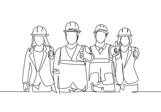 One line drawing of young happy male and female building builder groups wearing helmet giving thumbs up gesture. Great team work concept. Trendy continuous line draw design graphic vector illustration