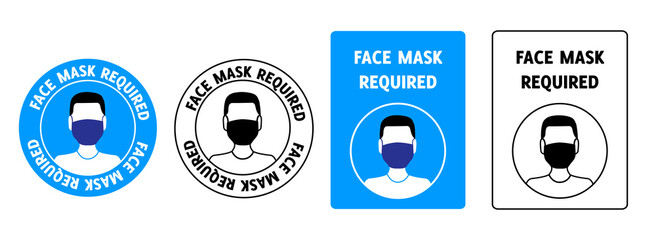 Set of signs face mask required Wall mural