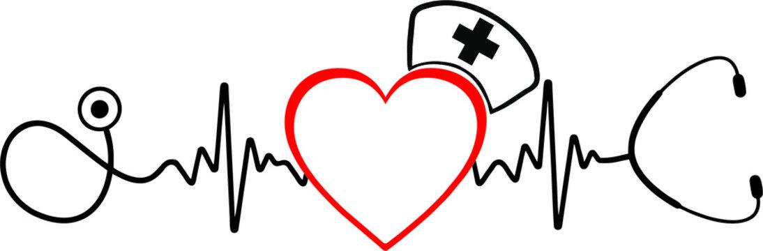 Heartbeat SVG, Nurse SVG, Doctor SVG, Healthcare Svg, Stethoscope Svg,nurse svg, medical team svg, medical svg, nursing svg, bandage svg