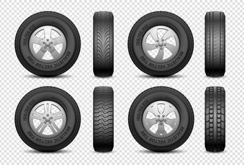 Realistic tires. Isolated car rubber wheel. Vehicle service, truck wheels repair. Front and side view tire vector set. Illustration automotive service, auto tire and disk metal