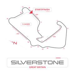 Acrylic Prints F1 Silverstone formula 1 grand prix motor racing circuit minimal diagram with labels