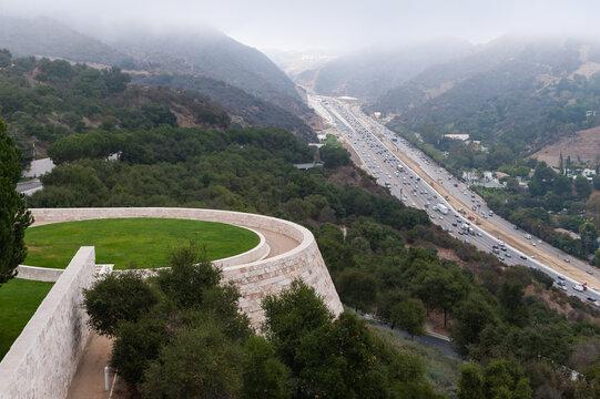 LOS ANGELES, CALIFORNIA - October 20, 2012: View of 405 freeway below  The Getty centre in Los angeles ,California