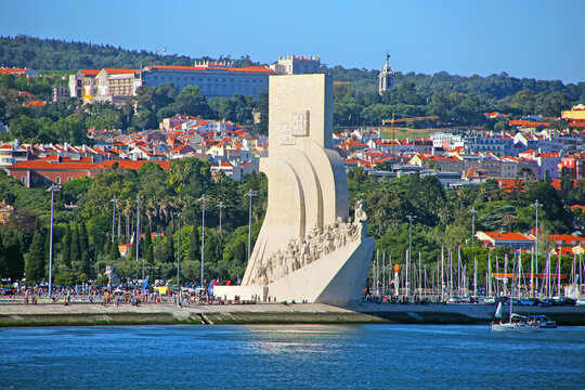Padrao dos Descobrimentos or Monument of the Discoveries; on the northern bank of the Tagus River estuary with the city in the background, Santa Maria de Belém, Lisbon, Portugal.