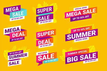 Wall Mural - Summer sale. Vector illustrations for social media ads and banners, website badges, marketing material, labels and stickers for products promotions, graphic templates.