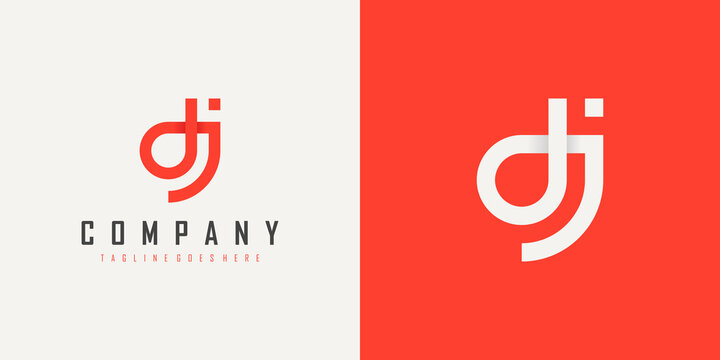 Abstract Initial Letter D and J Linked Logo. Red Linear Style isolated on Double Background. Usable for Business, Technology and Branding Logos. Flat Vector Logo Design Template Element.