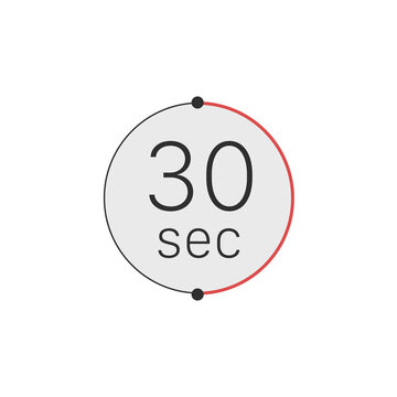 30 seconds timer, stopwatch or countdown icon. Time measure. Chronometr icon. Stock Vector illustration isolated on white background.