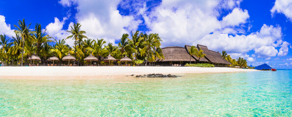 Wonderful idyllic nature scenery - tropical beach of Mauritius island, Le Morne