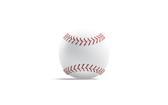 Blank white baseball ball with red seam mock up, isolated