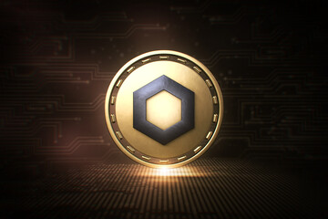 ChainLink - LINK - 3D Cryptocurrency Coin - Front View