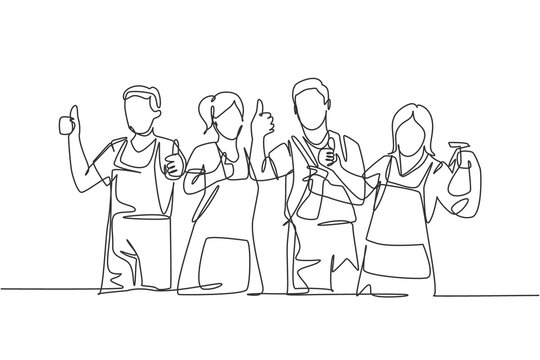 One line drawing of groups of group male and female janitor giving thumbs up gesture. Cleaning service teamwork concept. Continuous line draw design vector illustration