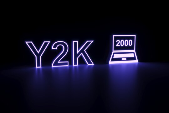 Y2K neon concept self illumination background 3D illustration
