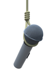 microphone hanged isolated on white