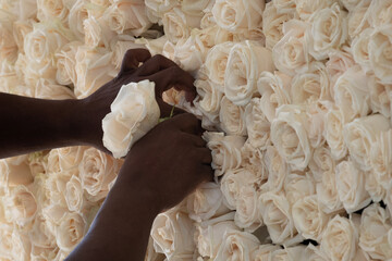 Man creates flower arrangment for George Floyd public visitation at The Fountain of Praise church in Houston