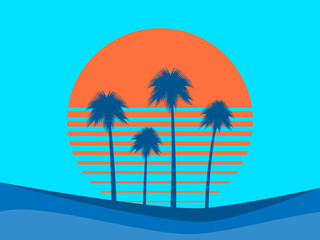 Poster Turquoise Tropical landscape with palm trees on a background of sea sunset.
