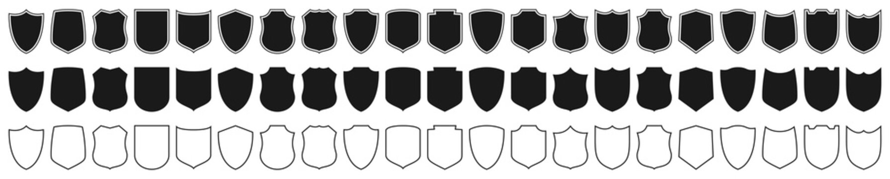 Shields set. Collection of security shield icons with contours and linear signs. Design elements for concept of safety and protection. Vector illustration.