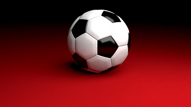 Realistic 3d illustration of a football/soccer ball on a red-colored floor.