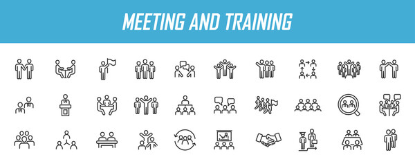 Set of linear meeting icons. Training icons in simple design. Vector illustration