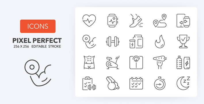 fitness and gym line icons 256 x 256