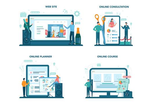 Event manager or service concept set. Celebration or meeting