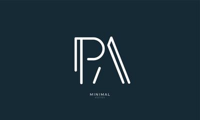 Obraz Alphabet letter icon logo PA - fototapety do salonu