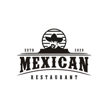 Mexican man with Hat Sombrero, Mexican food, Mexican cuisine restaurant Vintage Label Logo Design