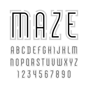 Font from bold line name is Maze, trendy simple alphabet sans serif, modern black letters and numbers, vector illustrator 10 eps
