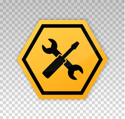 Under construction sign. Construct under banner. Signage danger. Warning caution. Board coming soon. Tools development. Yellow triangle frame isolated on background. Reconstruction sign. Vector