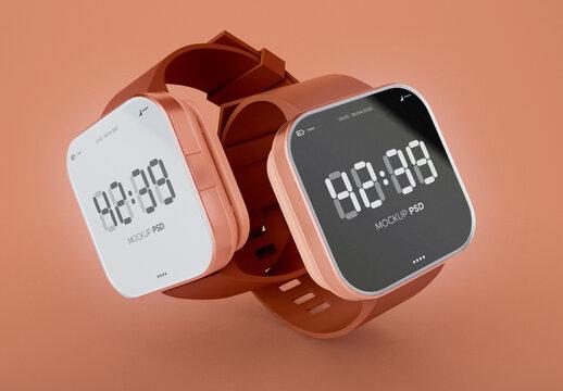 2 Smartwatches Mockup