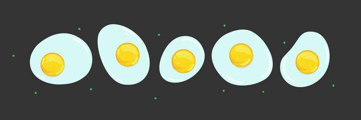 fried eggs. Set of five eggs