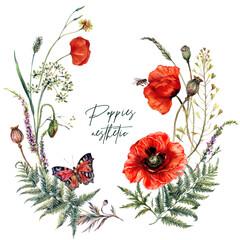 Obraz Watercolor Summer Meadow Wildflowers and Poppies Wreath - fototapety do salonu