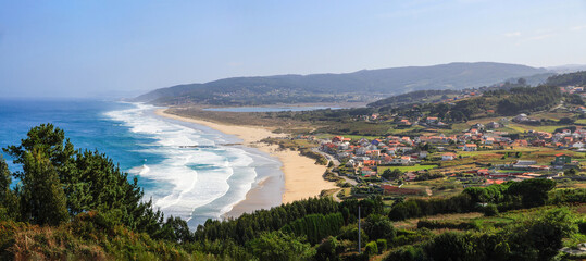 Fotobehang Noord Europa General view of the Galician coast with the town of Arnados and its beaches. Spain