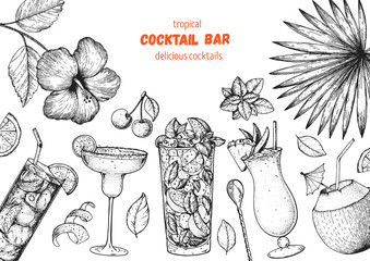 Alcoholic cocktails hand drawn vector illustration. Cocktails sketch set. Engraved style. Tropical collection.