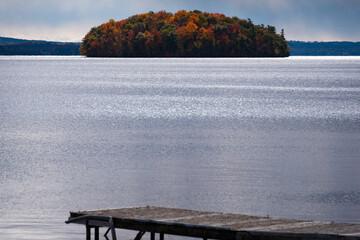 lake and island  in autumn