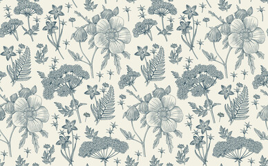 Seamless pattern fabric. Beautiful realistic isolated flowers. Vintage background. Hibiscus, Wahlenbergia Hemlock fern wildflowers. Wallpaper baroque. Drawing engraving. Vector victorian illustration