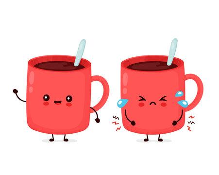 Cute happy and sad cry funny coffee mug