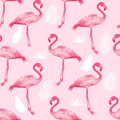 Printed roller blinds Flamingo Hand drawing print design. Flamingo seamless pattern vector illustration.